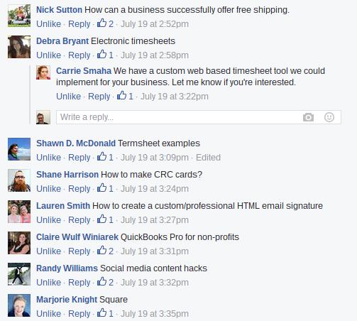 facebook response